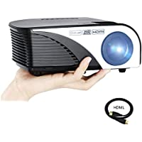 Varmax Protable Led Mini Projector with HDMI Cable, Home Projector indoor & outdoor for Home Theater Support 1080P Multimedia Video with Authentic 1200 Lumen efficiency