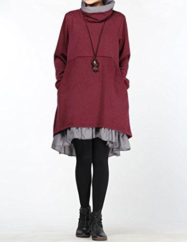 Lunga A Vogstyle Di Maglione Rosso Donna Collo Alto Manica wTWqgIrT