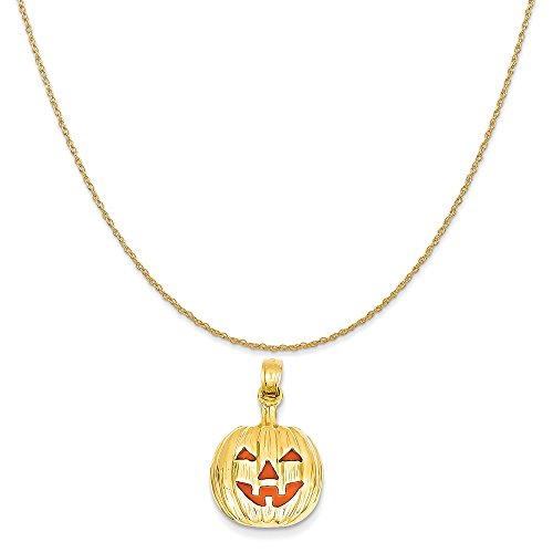 Mireval 14k Yellow Gold Enameled Inside 3-D Cut-Out Pumpkin Pendant on 14K Yellow Gold Rope Necklace, 18
