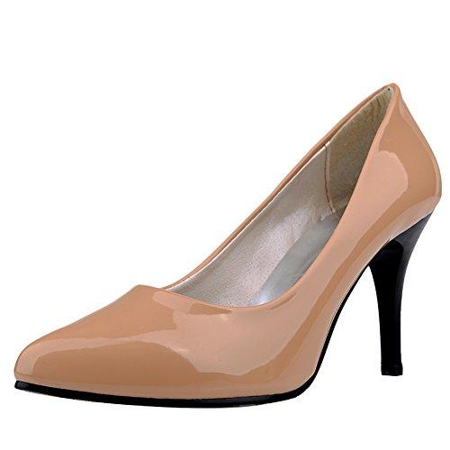 Carol Shoes Women's Casual Concise High Heel Single Color Pumps/Court Shoes apricot BjsZjMlJ