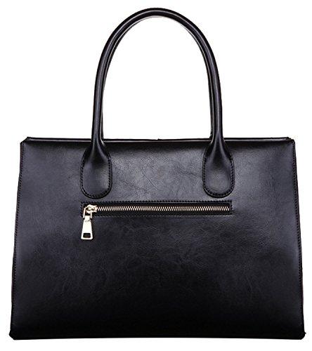 Heshe Fashion Prefect Medium Lady's Simple Euro Style Leather Handbag Top Handle Bag Tote Shoudler Bag Purse Big Capacity for Women Zipper Closure(black)