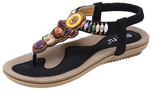 Agowoo Womens Beach Walking Flat Beads Jeweled Thong Sandalen Zwart