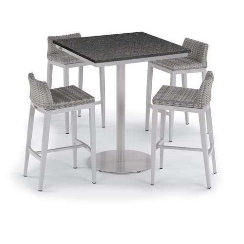 Oxford Garden Travira 5 -Piece 36-Inch Square Bar Table and Argento Side Rails Bar Stool Set - Powder Coated Steel and Aluminum Frame - Resin Wicker Argento Chair - Lite-Core Charcoal Table Top (Classic Oxford Garden Chair Side)