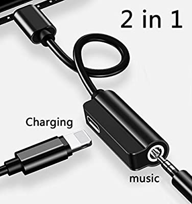 Audio Adapter Dual Headphone 3.5mm Jack Converter Cable Headset Audio&Charge Ports for Earphone Adapter-Black