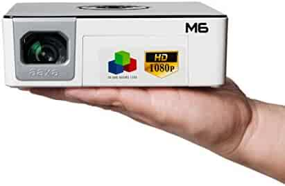 AAXA M6 Full HD Micro LED Projector with Built-In Battery Native 1920x1080p Fhd Resolution 1200 Lumens 30 000 Hour Leds Onboard Media Player Business/Home Theater Use Projector