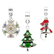 Christmas Set of Festive Charms Snowflake Christmas Tree Snowman For Pandora Style Bracelets