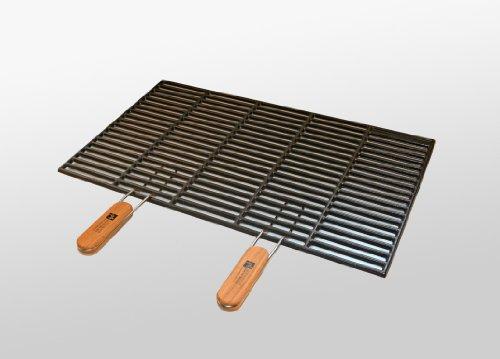 Gusseisen-Grillrost 54 x 34 cm mit abnehmbaren Handgriffen