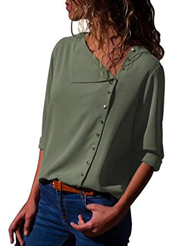 Solid V-neck Buttons - FIYOTE Women 2018 Fashion V Neck Roll Long Sleeve Button Details Solid Blouse Shirts Small Size Green