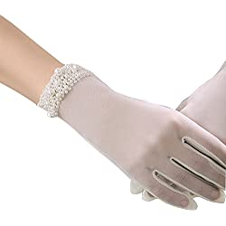 POPOOL PPLY02 Bridal Wedding Gloves Lace bow knot Gloves, tulle cuff bead gloves (Beige C), One Size
