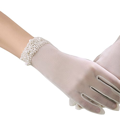POPOOL PPLY02 Bridal Wedding Gloves Lace bow knot Gloves, tulle cuff bead gloves (Beige C), One Size (Gloves Sheer Bridal)