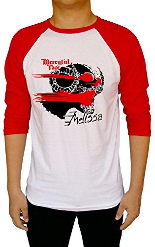 Mercyful Fate Melissa Logo Metal Band Baseball Tee Raglan 3/4 Sleeve Men's T Shirt Large White/Red