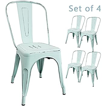 Devoko Metal Indoor Outdoor Chairs Distressed Style Kitchen Dining Chair  Stackable Side ChairS With Back