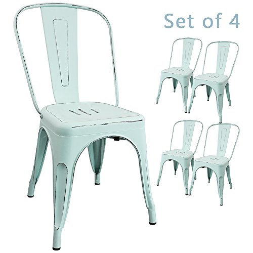 Devoko Metal Indoor-Outdoor chairs Distressed Style Kitchen Dining Chair Stackable Side Chairs With Back Set of 4 (Dream blue) - Distressed Dining Room Furniture