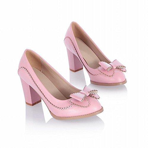 Latasa Womens Cute Bow Effen Kleurblok Hoge Hak Casual Jurk Pumps Schoenen Roze