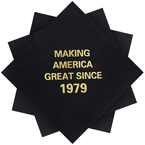 Beverage Napkins Great - Elcoho 60 Pack 40th Birthday Napkins Black and Gold Beverage Cocktail Beverage Napkins Making America Great Since 1979 Decoration Party Supplies, 5 by 5 Inches (1979)