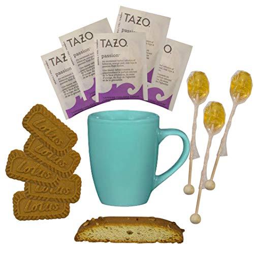 (Cottage Lane Hot Tea Mug Boxed Set Featuring Tazo Herbal Tea Bags, Honey Spoon Stirrers, Nonni's Biscotti, and Biscoff Lotus Cookies (Passion Tea))