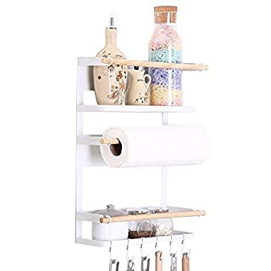Kitchen Rack - Magnetic Fridge Organizer - 18.1x12.7x5 Inch - Paper Towel Holder, Rustproof Spice Jars Rack, Heavy-duty Refrigerator Shelf Storage Including 6 Removable Hooks (White) - 2019 New Design
