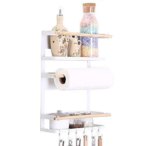 Kitchen Rack - Magnetic Fridge Organizer - 18x12.7x5 INCH - Paper Towel Holder, Rustproof Spice Jars Rack, Heavy-duty Refrigerator Shelf Storage Including 6 Removable Hooks (WHITE) - 2019 New Design