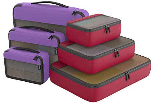 Packing Cubes Organizer Bags For Travel Accessories Packing Cube Compression 6 Set For Luggage Suitcase (Purple Red)