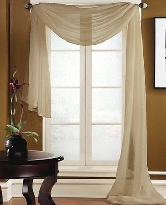 1 ELEGANCE SHEER VALANCE SCARF TOPPER SWAG WINDOW TREATMENT COVERING ALL STYLES - Taupe (Elegance Swag)