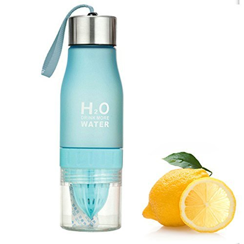 H2O Lemon / Fruit Infuser Water Bottle - New Version - Leak Proof - BPA Free (Blue)
