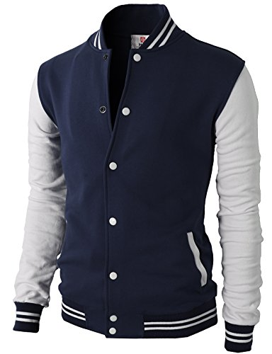 H2H Mens Slim Fit Varsity Baseball Bomber Cotton Lightweight Premium Jacket  Cmoja083-navy XX-Large