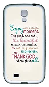 Brian114 Samsung Galaxy S4 Case, S4 Case - Slim Ultra Fit Soft Rubber Case for Samsung Galaxy S4 I9500 Enjoy Your Life Popular Design White Back Cover for Samsung Galaxy S4 I9500