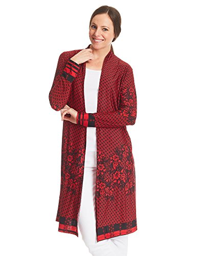 (WSK1334 Womens Print Long Sleeve Open Front Long Cardigan M RED_Black)