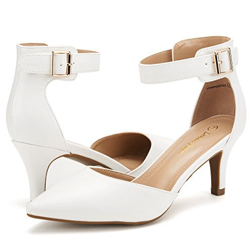 DREAM PAIRS LOWPOINTED NEW Women's Evening Dress Low Heel Ankle Strap D'orsay Pointed Toe Wedding Pumps Shoes White PU Size 8.5