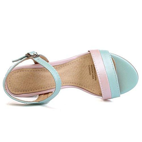 TAOFFEN Mujer Sandalias Moda Tacon Ancho Tacon Medio punta abierta Al Tobillo Zapatos Azul