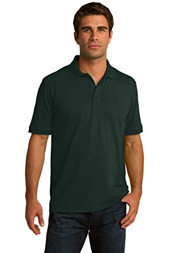 Sportoli Men's Cotton Blend Solid Everyday Uniform Short Sleeve Polo Shirt Top - Dark Green (Large)