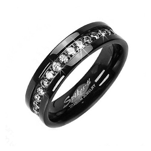 Amazoncom Solid Titanium Black IP ION White CZ Eternity Wedding