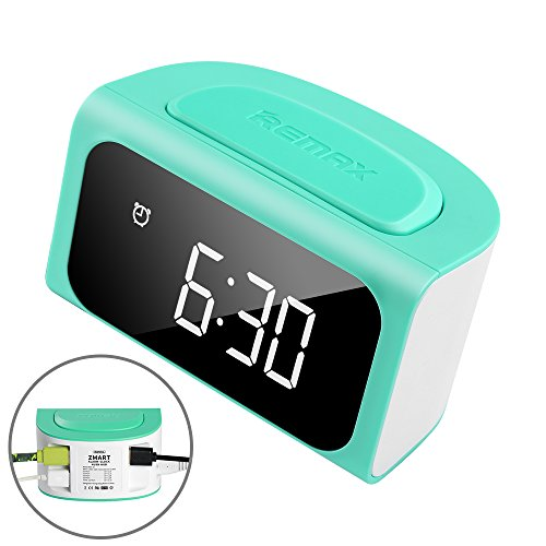 Mini Desk LCD Digital Alarm Clock 24 Hours Format Display and 2 Light Mode with 4 port USB Charging Station for Charger Multiple Devices (Blue) (Cool Alarm Clock For Kids)