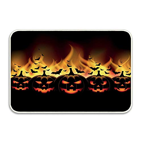 Happy Halloween Image with Jack o Lanterns on Fire with Bats Holiday Indoor/Outdoor Doormat Anti-Skid Entrance Rug Floor Mat Home Decor Outside Doormat 16 X 24 Inch]()