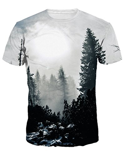 sankill Unisex Summer 3D T Shirts for Men Slim Fitting Short Sleeve Tops Tees (Large, Grey Tree)