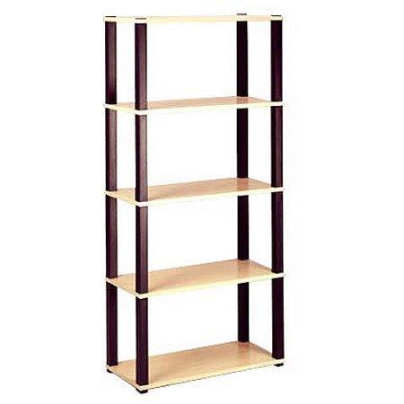 Open 5 Shelf Bookcase Home Furniture Storage New Wood Black Bookshelf Cherry Bookcases Shelving Decorators