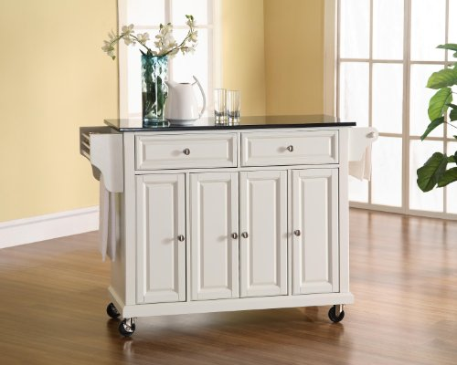(Crosley Furniture Rolling Kitchen Island with Solid Black Granite Top - White )