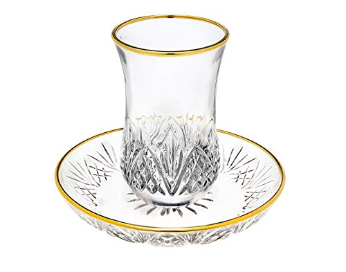 Godinger Dublin Crystal Kiddush Cup and Saucer with Gold Edge