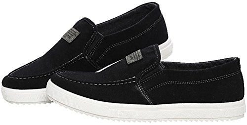 Men's Casual Board Shoes Loafers Slip On Black Sneakers PPXID Canvas fTqRRF