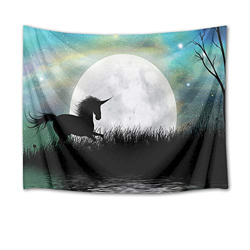 - HVEST Starry Sky Tapestry Unicorn Running by River in Full Moon Night Wall Hanging Fantasy Forest Tapestries for Kids Girl Boy Bedroom Living Room Dorm Birthday Party Wall Decor,60Wx40H inches