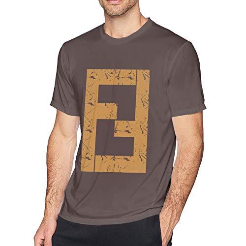 Qeehowey Men's Coffee Short-Sleeve Cotton Fendi_Vintage_Shirt_Inspired T-Shirt for Men - Coffee Fendi