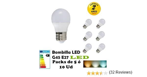 G45-Bombilla LED E27 3W 4W 5W 6W 7W Packs de 5 ó 10 Unidades ahorras hasta 80 por ciento de luz (6000K LUZ BLANCA, PACK 5 4W): Amazon.es: Iluminación