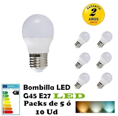 G45-Bombilla LED E27 3W 4W 5W 6W 7W Packs de 5 ó 10 Unidades ...