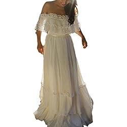 Veilace Women's Bohemian Wedding Dress Off the Shoulder Lace Chiffon Beach Boho Bridal Gowns ..