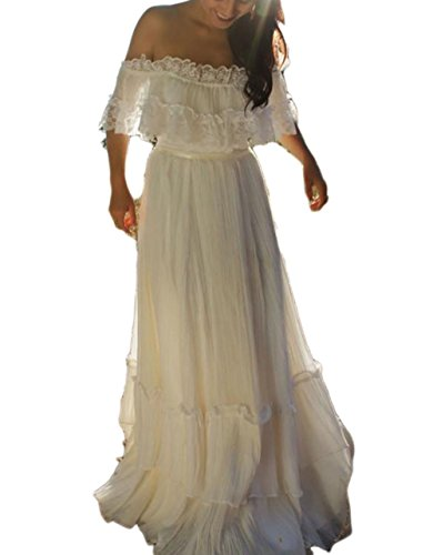 Veilace Women S Bohemian Wedding Dress Off The Shoulder Lace Chiffon