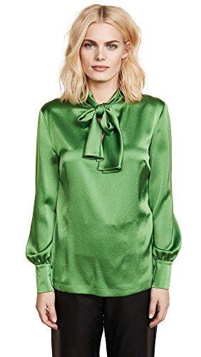 Silk Diane Tie Von Furstenberg (Diane von Furstenberg Women's High Neck Tie Blouse, Grass Green, 12)