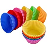 Gluckliy Silicone Bakeware Baking Muffin Cups Chocolate Cupcake Liners Cases Moulds Set, Pack of 12