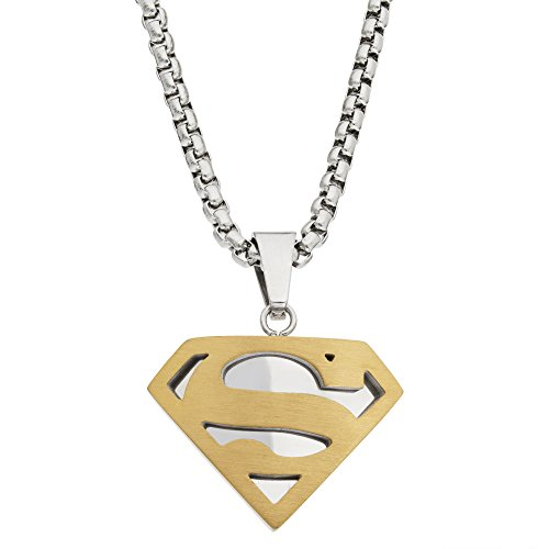 DC Comics Superman Jewelry for Men and Boys, Stainless Steel Two Tone Pendant Necklace, 22