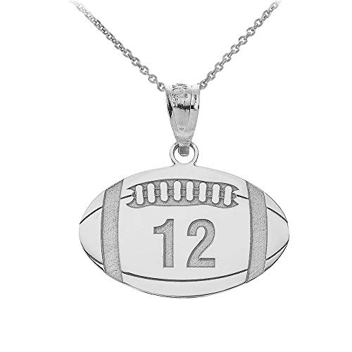 (Sports Charms 14k White Gold Customized Football Necklace with Your Name and Number, 22