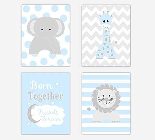 Amazon.com: Twins Baby Boy Nursery Art Blue Elephant ...
